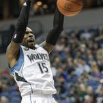 Minnesota Timberwolves forward Shabazz Muhammad (15) dunks during the first half of an NBA basketball game, Saturday in Minneapolis.