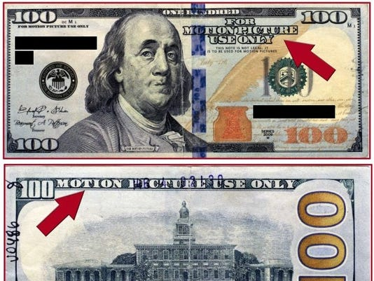 Warning issued about counterfeit movie money