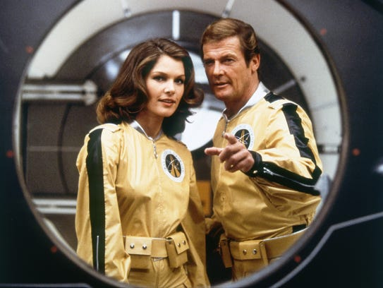 Roger Moore (right, with Lois Chiles) took 007 to space