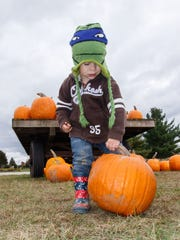 Three-year-old Kade Kusik of Milwaukee ponders how