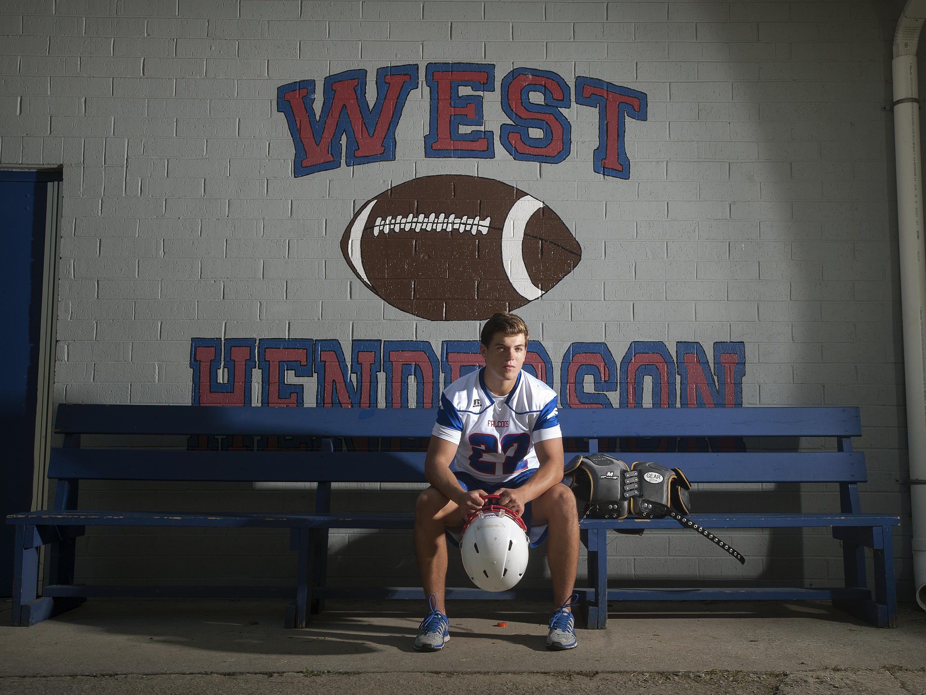 West Henderson's Stephen Perron is a returning senior linebacker for the Falcons this season. He made 133 tackles last season.