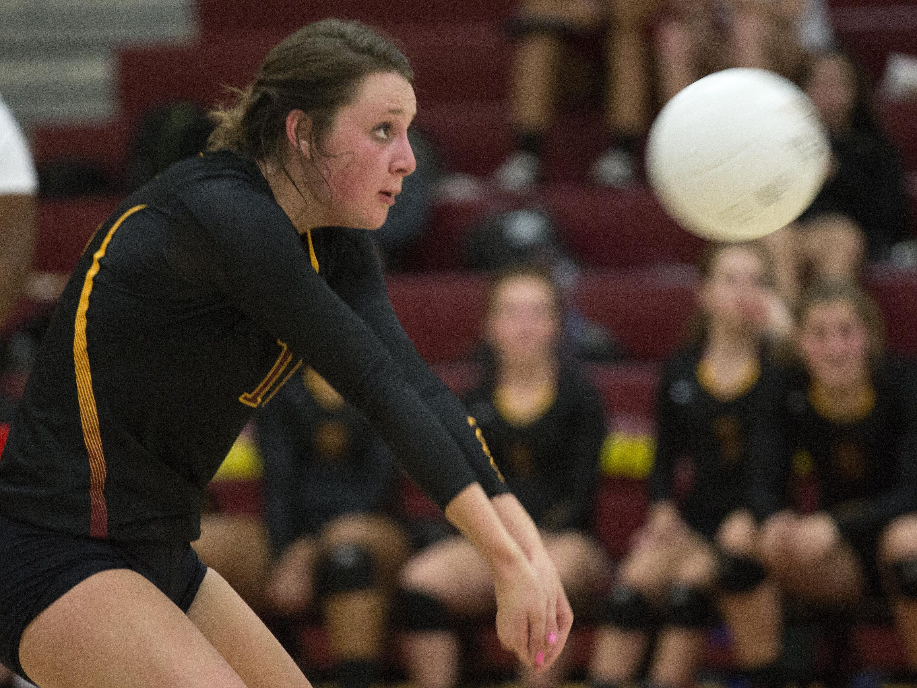 Macie Linne, shown in a file photo, led the Rocky Mountain High School volleyball team with nine kills Tuesday night. The Lobos were swept on the road by Fairview.
