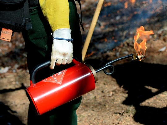 Juniper O'dell, with The Nature Conservancy, holds a flaming drip torch during a prescribed burn near Lake James in 2015.