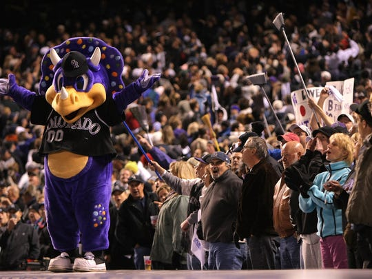 Rockies mascot Dinger celebrates Colorado's sweep of Arizona in the 2007 National League Championship Series.