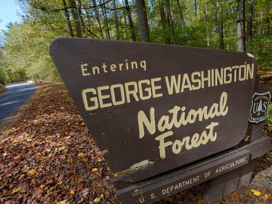 A sign marks the border of the George Washington National