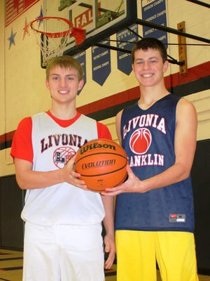 Senior Nick Curtis (left) and junior Joe Chinavare will serve as captains and defensive catalysts for Livonia Franklin's basketball team this winter.
