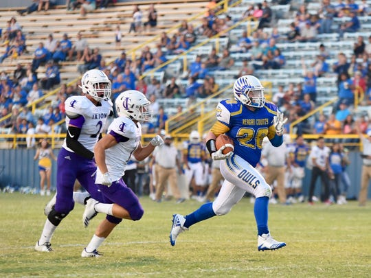 Reagan County's Cahel Lafferty was one of three Owls to rush for over 100 yards in Friday's 40-0 win over TLCA. Lafferty is shown here in the Owls' 58-8 win over Irion County in Week 2.