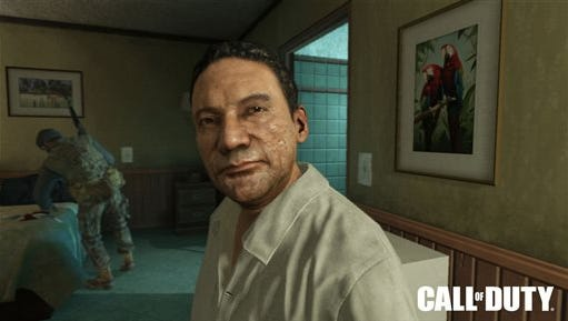 """This image provided by Activision Blizzard Inc. shows Manuel Noriega as depicted in the game publisher's 2012 game, """"Call of Duty: Black Ops II."""" Activision today announced that former New York City Mayor Rudy Guiliani is joining the video game maker's legal team in seeking to dismiss a lawsuit filed by the former Panamanian dictator for use of his likeness without permission."""