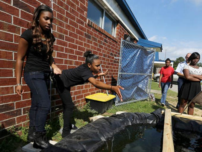 Adrienne McDonald, left, and Alexia Martin feed fish as Godby High School JROTC students work on the aquaponics lab on Monday morning. The students are learning to raise tilapia and vegetables using aquaponics principles.