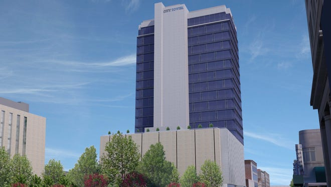 A rendering of the City Tower project at 420 Main St.