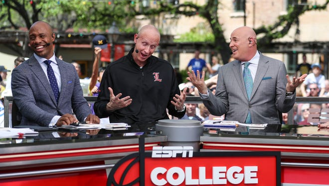 Chris Mack was interviewed on ESPN's College Gameday show before the start of the Final Four games in San Antonio, Texas.