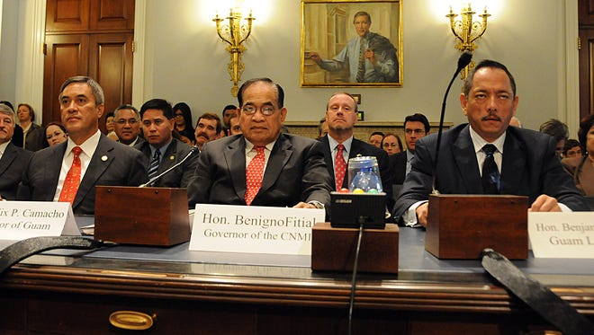 Hearing: Front, from left: then-Guam Gov. Felix Camacho; then-Northern Marianas-Gov. Benigno Fitial; and Sen. Benjamin Cruz appear at a congressional subcomittee hearing in 2009.