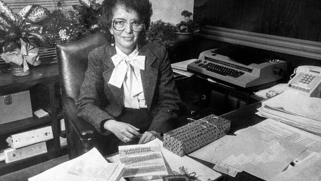 Barbara Fass sits at her desk the day after winning the Stockton Mayoral election on Nov. 7, 1985.
