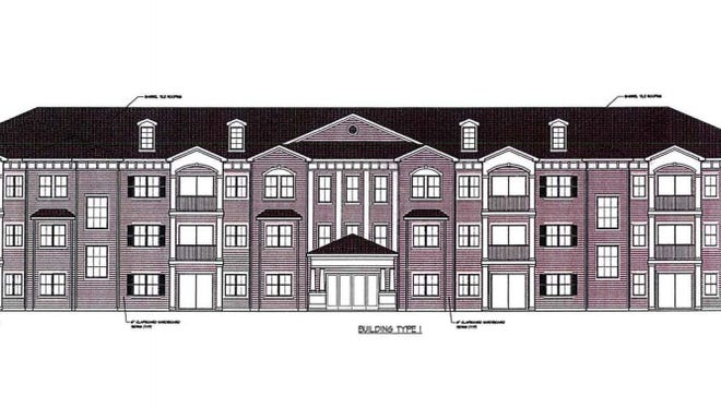Architectural drawing of what Village on the Commons apartment buildings will look like.