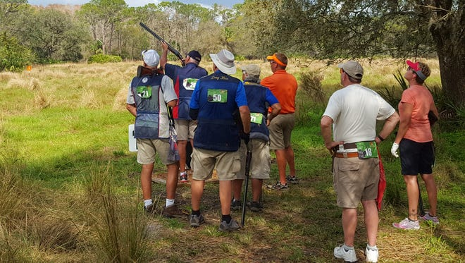 A group of shooters compete Wednesday in the FITASC portion of the 2018 Gator Cup at Quail Creek Plantation in Okeechobee. Annually, it is one of the five largest shoots in the country and has 727 registered this year.