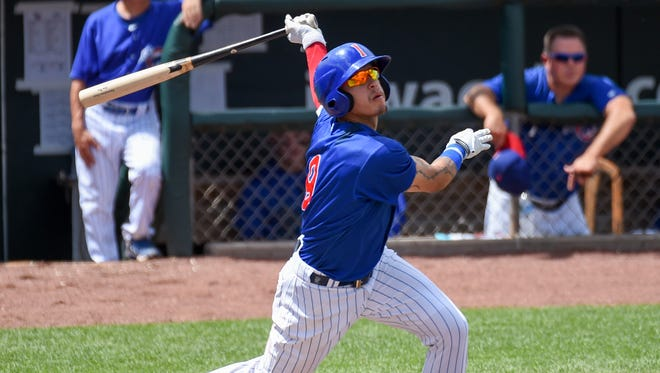 Javier Baez went 1-for-3 with a home run, the Iowa Cubs' first of the season, during Monday's victory over the New Orleans Zephyrs at Principal Park.
