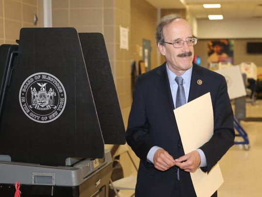 U.S. Rep. Eliot Engel votes in the primary election at P.S. 141 in the Bronx, June 26, 2018.