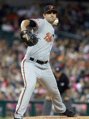 Baltimore Orioles relief pitcher Richard Bleier makes