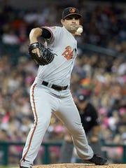 Baltimore Orioles relief pitcher Richard Bleier makes