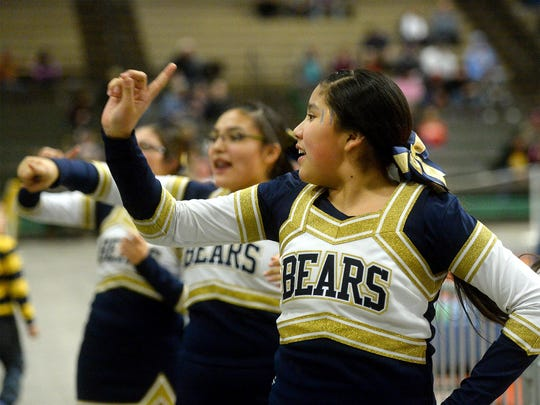 Box Elder Bears cheerleaders get the fans involved during the Northern C Divisional Tournament in the Four Seasons Arena on Wednesday.