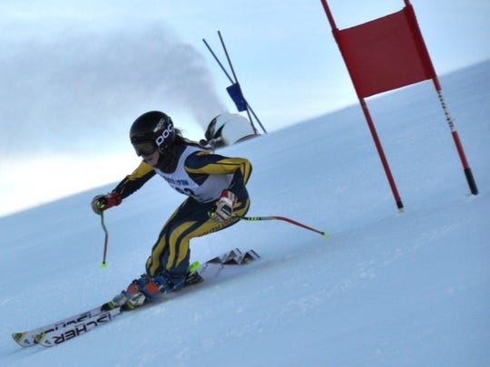 South Lyon United's Natalie Aulicino heads downhill in the giant slalom.
