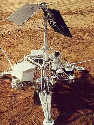A demonstration model of the Surveyor probes is shown here in the California desert. Today marks the 50th anniversary of Surveyor 1 landing on the moon.