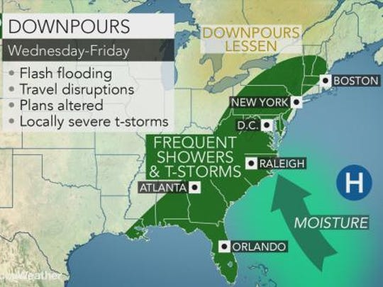 Rainy weather could last into the weekend in the Lower