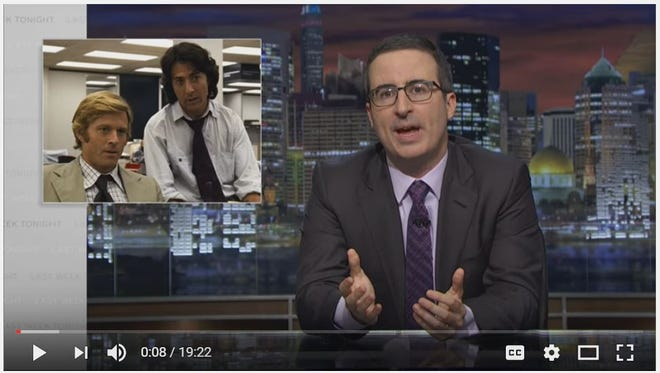 'Last Week Tonight' host John Oliver laments the decline of newspaper journalism.