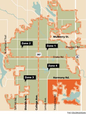 This map shows the four mosquito zones established for the city's West Nile virus spraying program, and the area (in red) that Larimer County plans to spray.