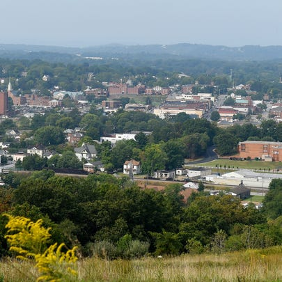 A view of downtown Waynesboro as seen from the top