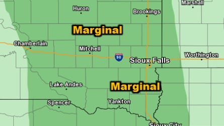 Possibility of severe thunderstorms for the Sioux Falls area on Tuesday.
