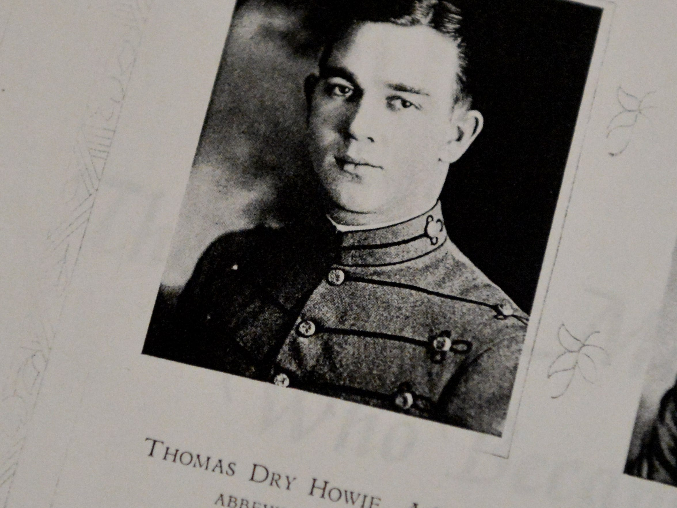 A photograph of a younger Thomas D. Howie taken while he was a cadet at The Citadel in South Carolina.
