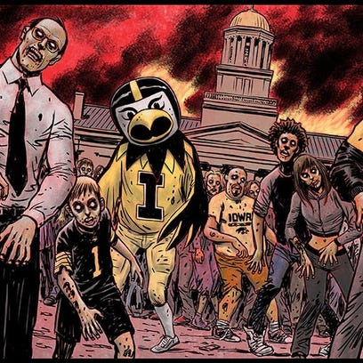 The Iowa City Zombie Burger mural created by American