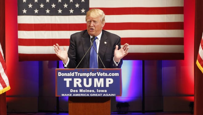 Donald Trump speaks during a rally for veterans at Drake University in Des Moines on Jan. 28, 2016. Trump scheduled the event after declining to participate in the Republican debate in Des Moines.