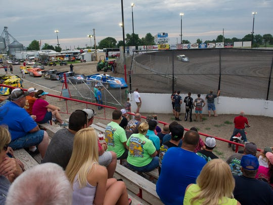 View from the stands as the late model modified race cars enter the track during the 2018 Summer National late model races at Tri-State Speedway on Sunday, June 24, 2018.