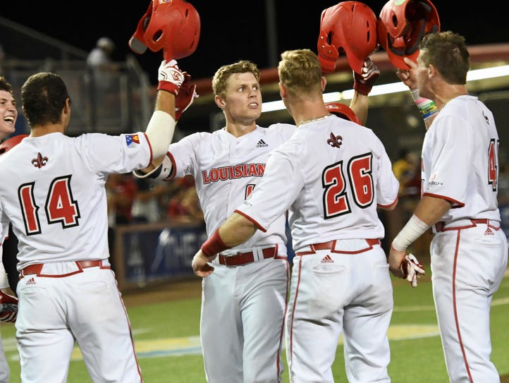 UL's Hunter Kasuls celebrates with his team mates after