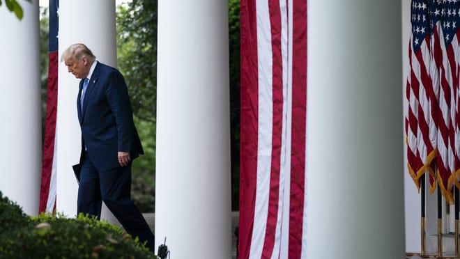 President Donald Trump arrives to speak about coronavirus testing strategy, in the Rose Garden of the White House, Monday in Washington.