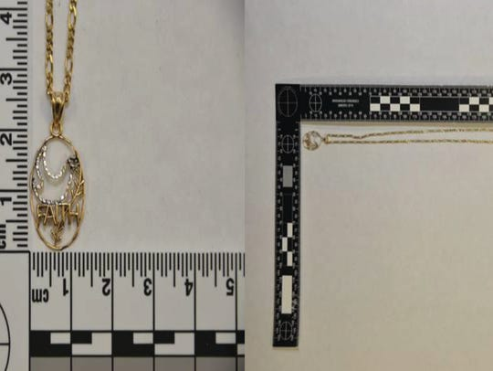 "Investigators found a thin, gold ""Figaro necklace"""