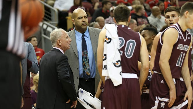 Former U of L standout Felton Spencer is now on the Bellarmine coaching staff during their game at the KFC Yum! Center.Nov. 7, 2016