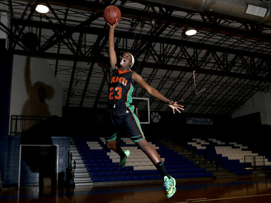FAMU DRS guard and All-Big Bend Player of the Year Jazmine Jones averaged 18 points, eight rebounds, four assists and three steals per game to help lead the Rattlers to the Class 2A state title. She's averaging