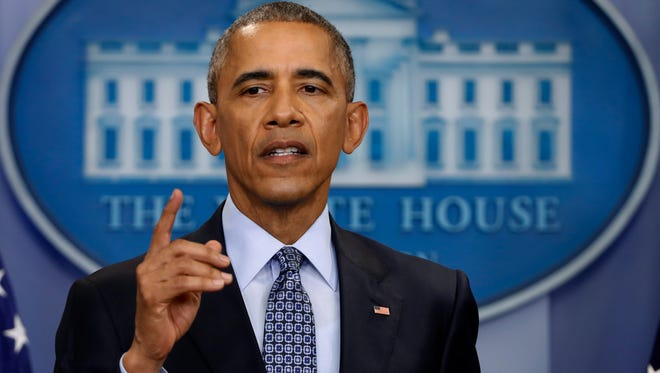 On Jan. 18, 2017, President Barack Obama speaks during his final presidential news conference, in the briefing room of the White House in Washington. In his last major act as president, Obama cut short the sentences of 330 federal inmates convicted of drug crimes on Thursday, Jan. 19, 2017, bringing his bid to correct what he's called a systematic injustice to a climactic close.
