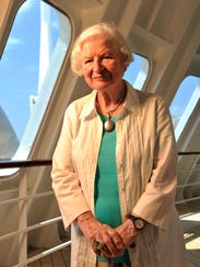 P.D. James on board the Queen Mary 2 in Brooklyn in