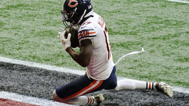 Chicago Bears wide receiver Anthony Miller (17) makes a touchdown catch against the Atlanta Falcons during the second half of an NFL football game, Sunday, Sept. 27, 2020, in Atlanta.
