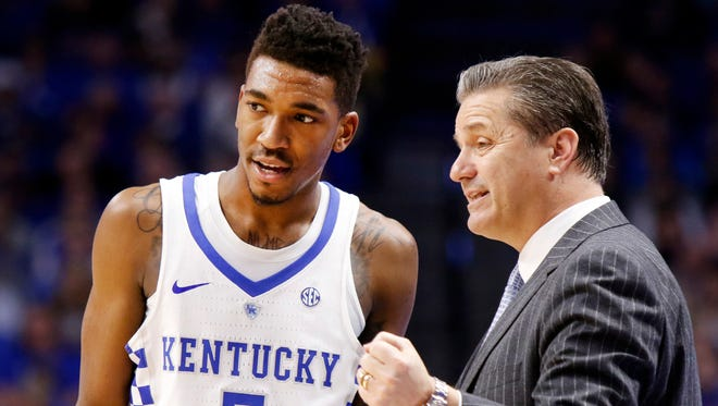 In this Jan. 14, 2017, file photo, Kentucky's Malik Monk (5) is instructed by head coach John Calipari during the second half of an NCAA college basketball game against Auburn, in Lexington, Ky. Monk is one of the prospects the Knicks might be looking at with their No. 8 selection for the NBA Draft.