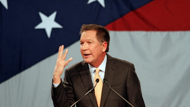 Ohio Gov. John Kasich delivers his State of the State address Tuesday at the Roberts Centre in Wilmington.