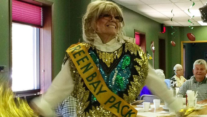 """Former Green Bay Packers Golden Girl and Sturgeon Bay resident Mary Jane Sorgel, shown  performing a cheerleading routine at the Door County Senior Center in 2015,  is being featured in a segment of NFL Films Presents' new """"Memories"""" episode, premiering at 5 p.m. Jan. 17 on Fox Sports 1."""