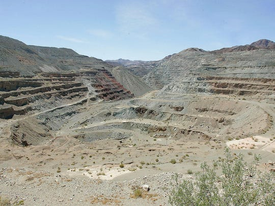 A massive iron ore mining pit at Eagle Mountain in the remote desert east of the Coachella Valley.