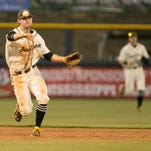 Southern Mississippi's Michael Sterling (15) makes a throw to first base. Mississippi State and the University of Southern Mississippi played in a college baseball game at Trustmark Park in Pearl on Tuesday, March 24, 2015. Photo by Keith Warren (Mandatory photo credit)