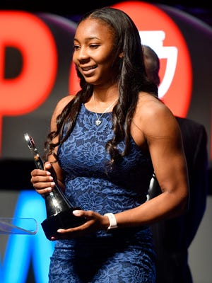 Anastasia Hayes accepts her Girls Athlete of the Year Award at The Tennessean Sports Awards presented by Farm Bureau Health Plans at the Tennessee Performing Arts Center's Andrew Jackson Hall on Tuesday, June 6, 2017 in Nashville, Tenn.