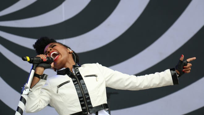 Janelle Monae performs at the Bonnaroo Music & Arts Festival on June 13, 2014, in Manchester, Tenn.